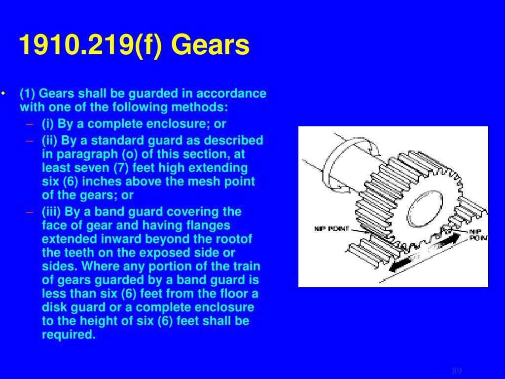 1910.219(f) Gears