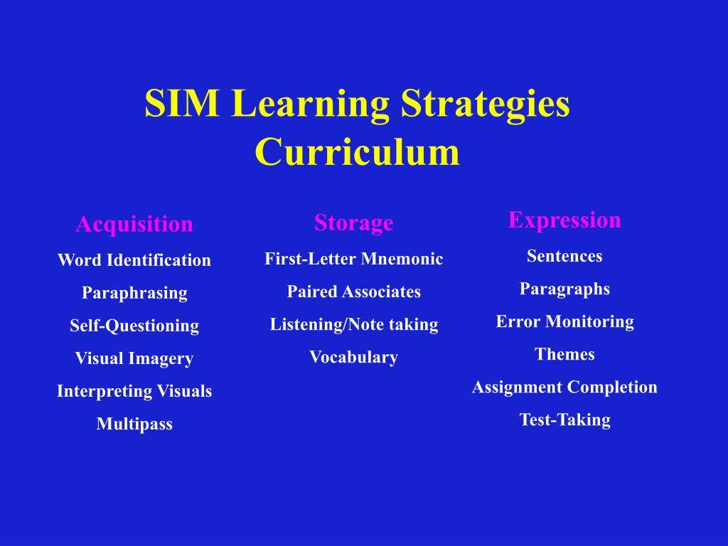 SIM Learning Strategies Curriculum