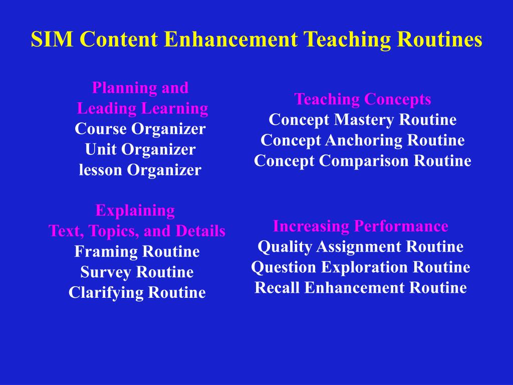 SIM Content Enhancement Teaching Routines
