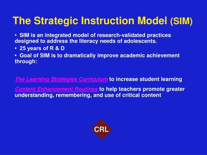 The strategic instruction model sim2