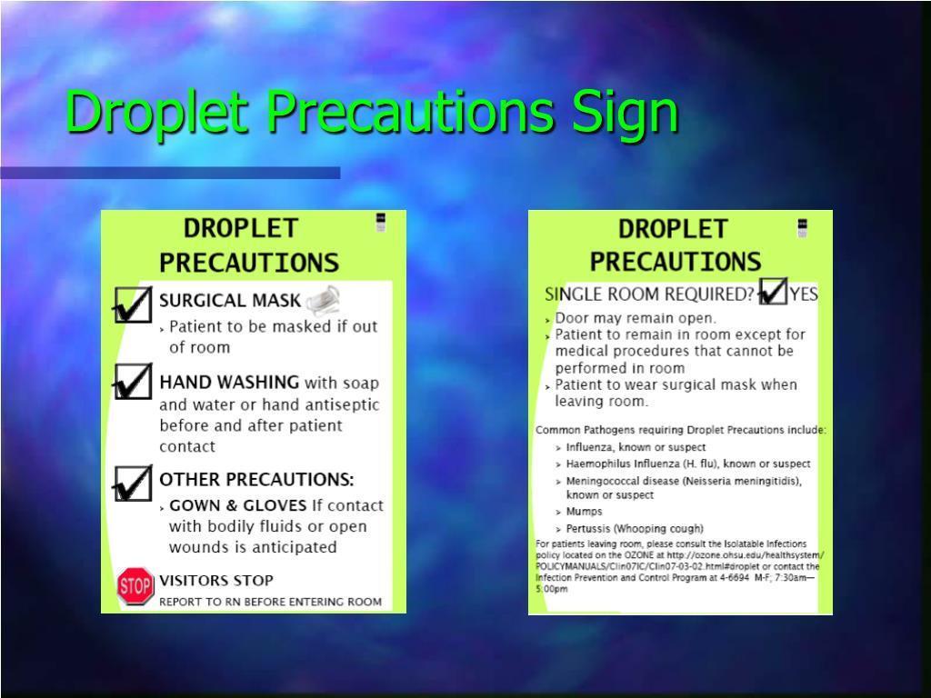 Droplet Precautions Sign