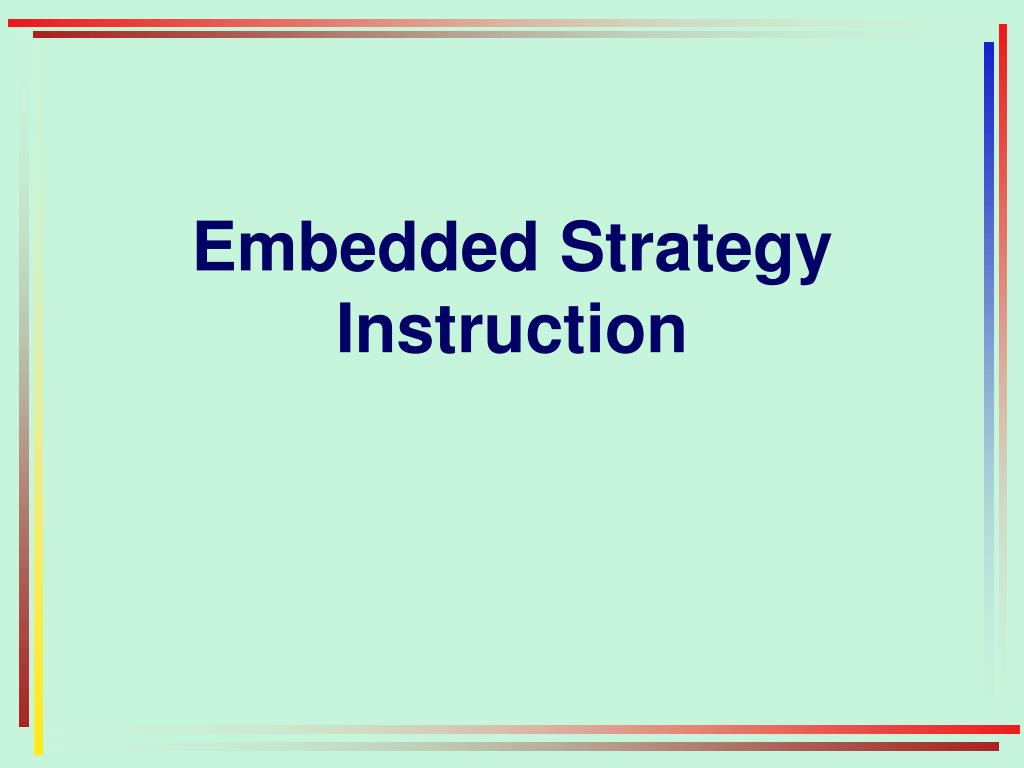 Embedded Strategy Instruction