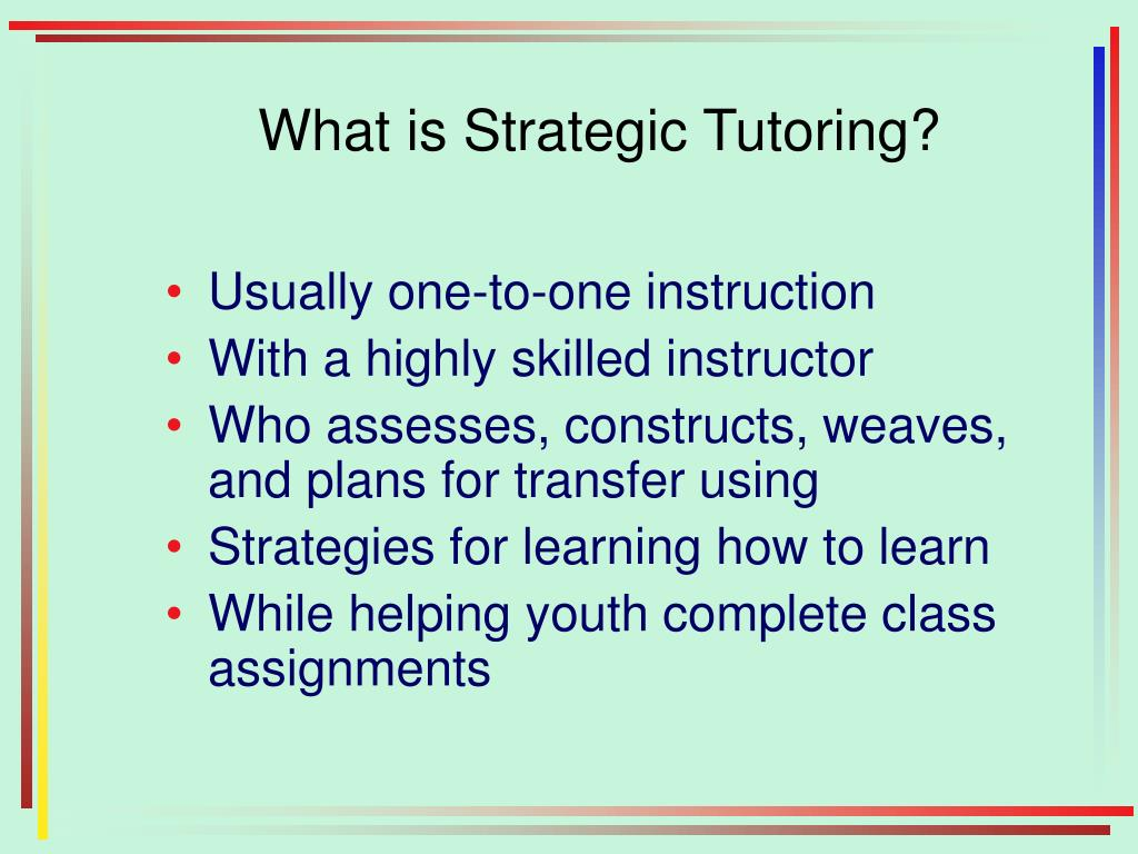 What is Strategic Tutoring?