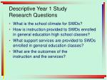 descriptive year 1 study research questions