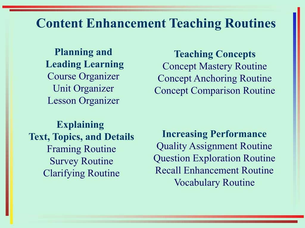 Content Enhancement Teaching Routines
