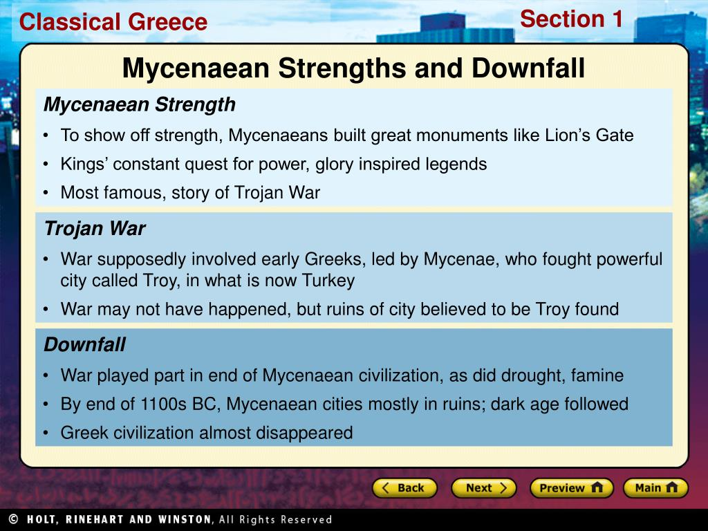 Mycenaean Strengths and Downfall