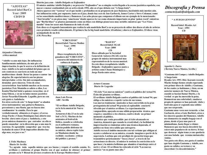 Distrito jazz.com - Adolfo Delgado en Enjhambre