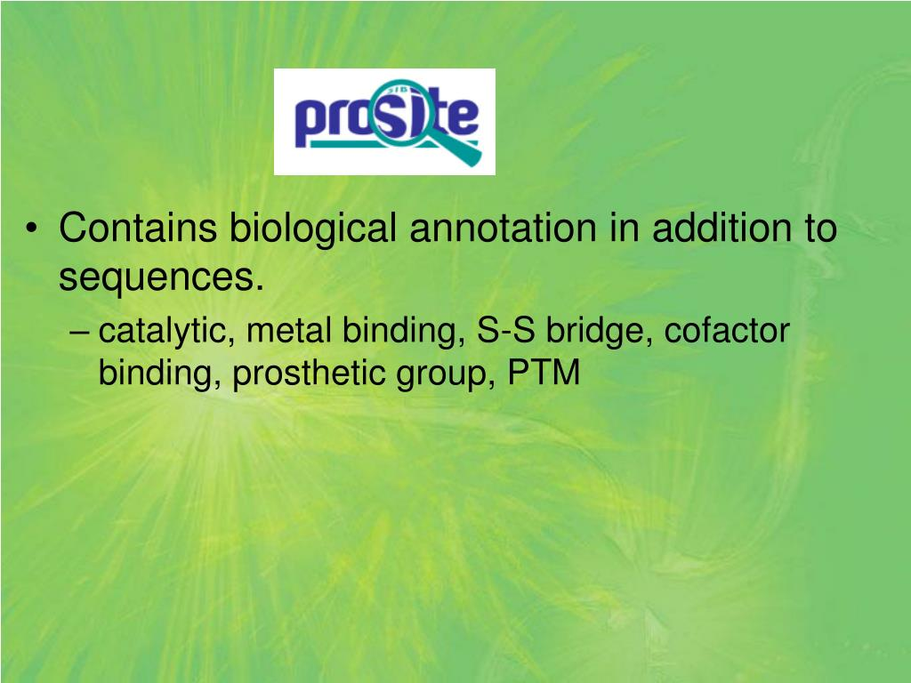 Contains biological annotation in addition to sequences.