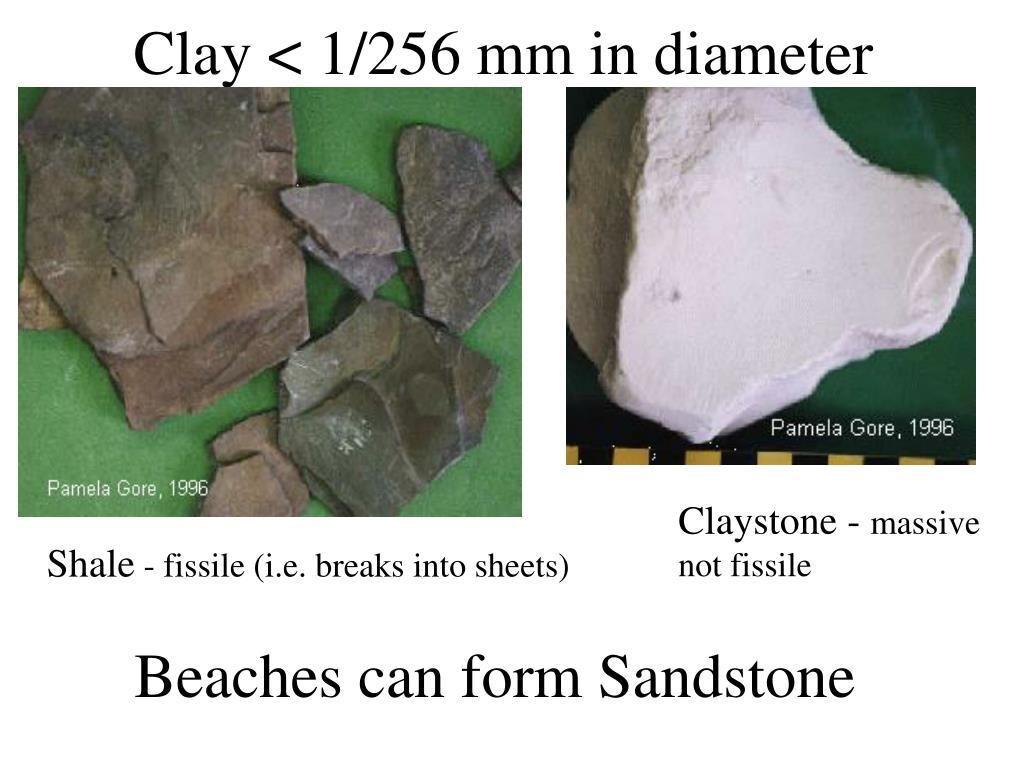 Clay < 1/256 mm in diameter