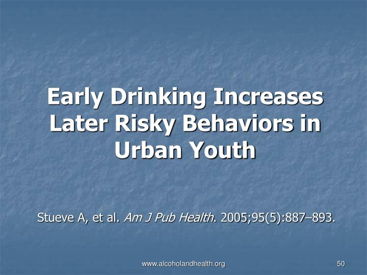 Early Drinking Increases Later Risky Behaviors in Urban Youth