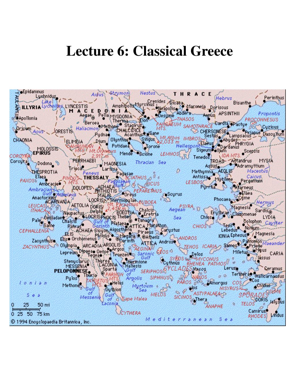 Lecture 6: Classical Greece