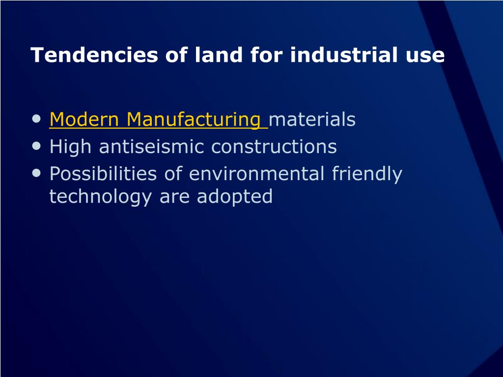 Tendencies of land for industrial use