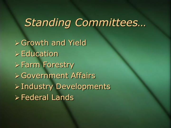 Standing Committees…
