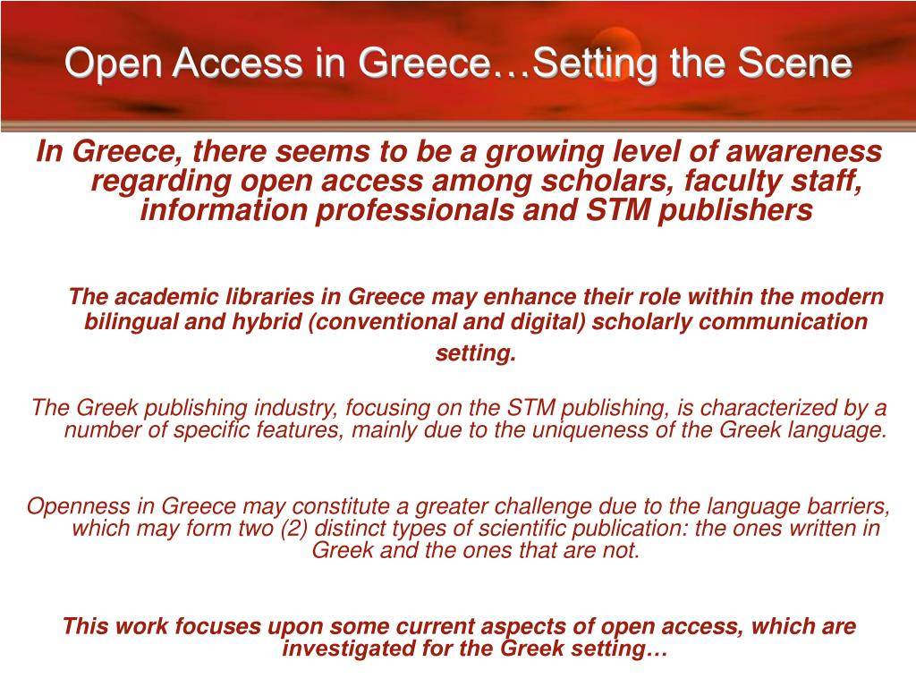 Open Access in Greece…Setting the Scene