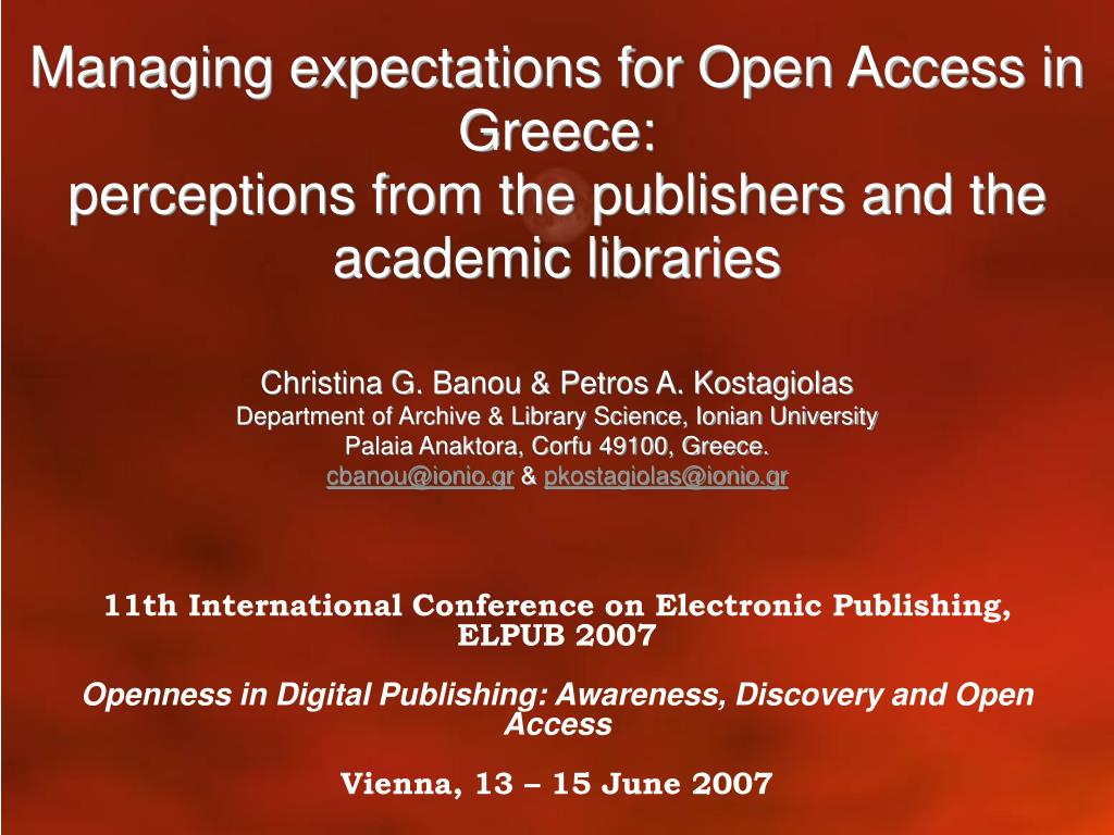 Managing expectations for Open Access in Greece: