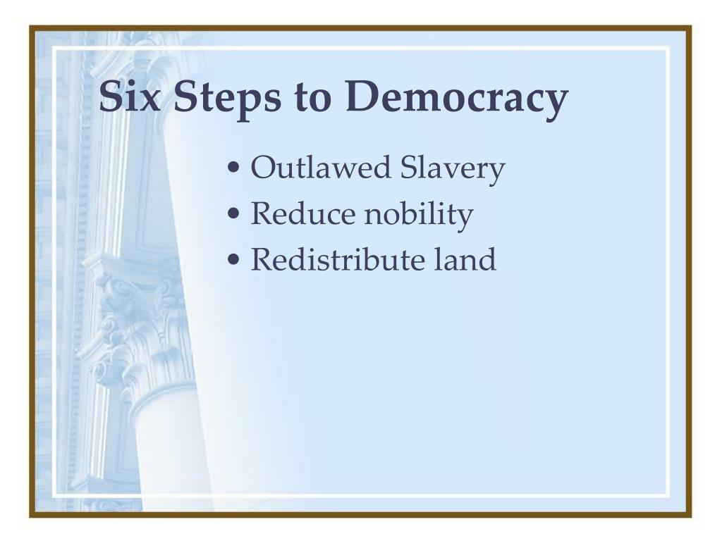Six Steps to Democracy
