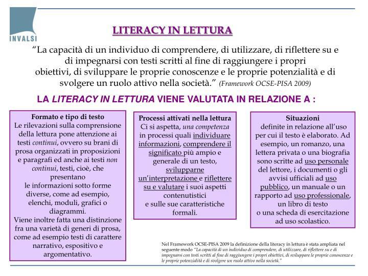 LITERACY IN LETTURA