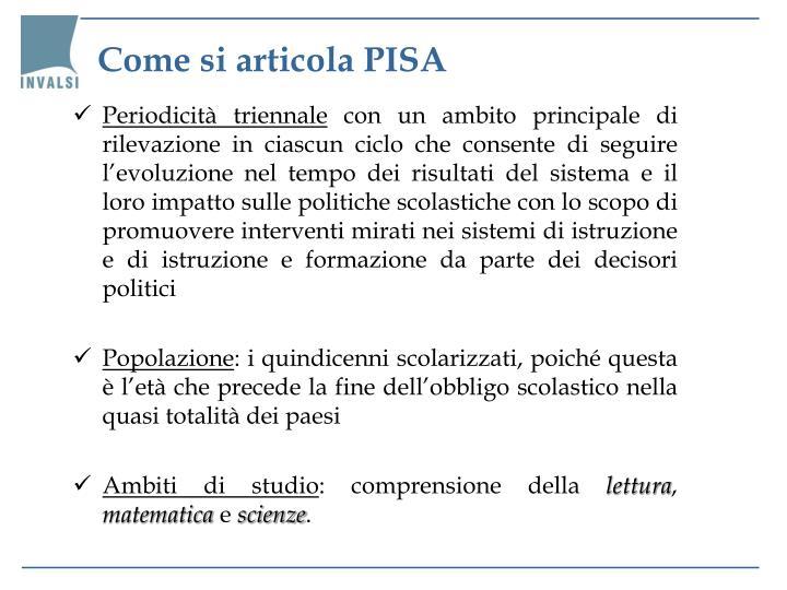 Come si articola PISA