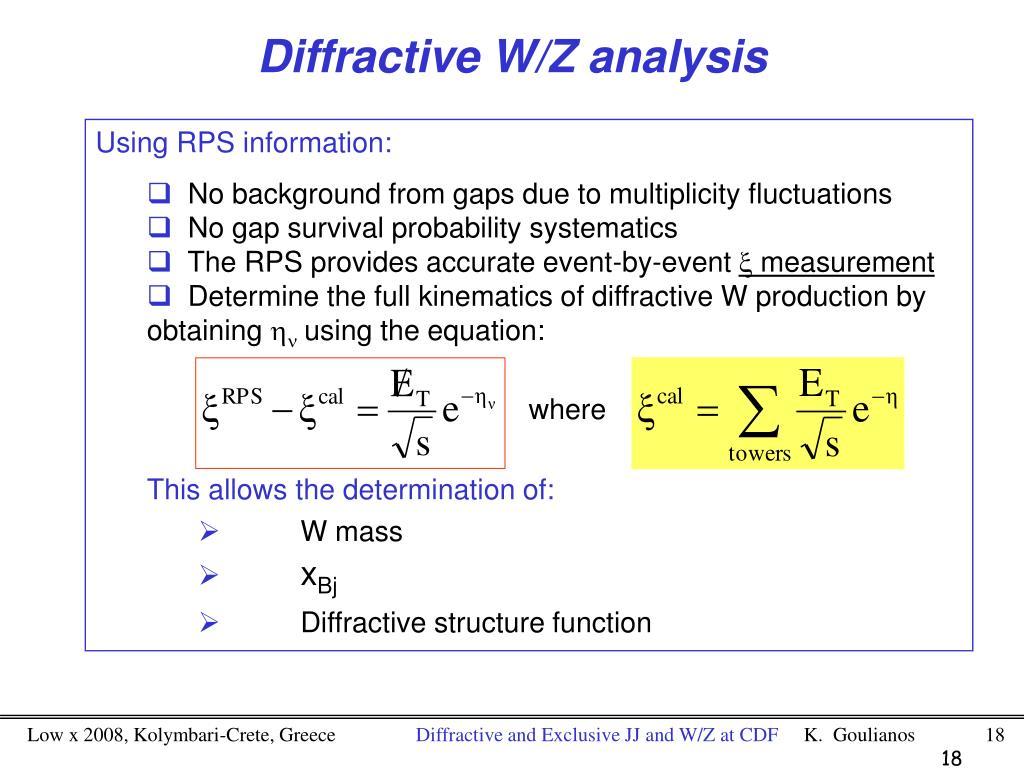 Diffractive W/Z analysis