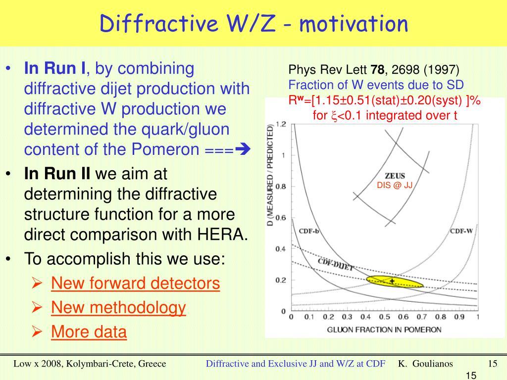 Diffractive W/Z - motivation