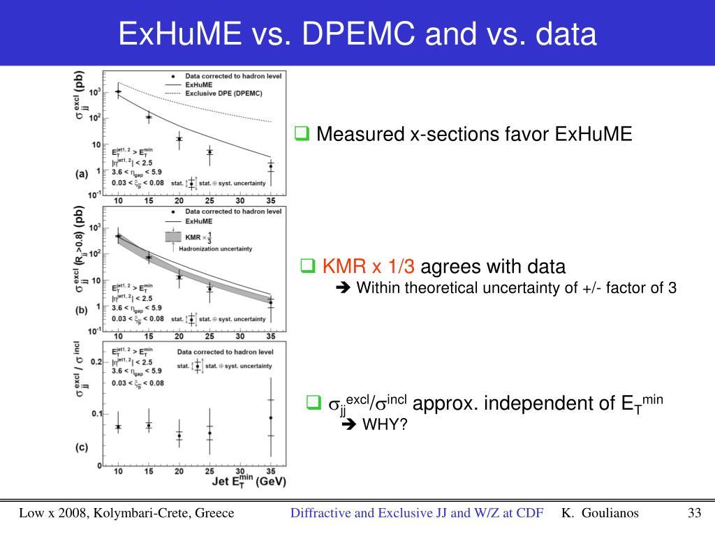 ExHuME vs. DPEMC and vs. data