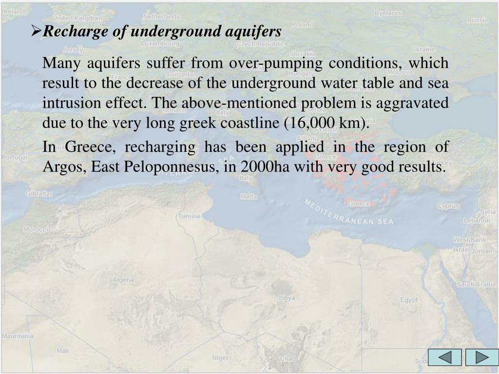 Recharge of underground aquifers