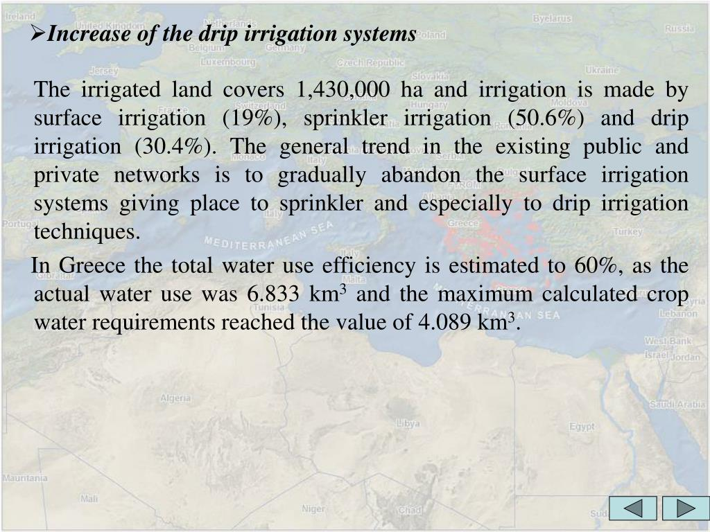 Increase of the drip irrigation systems