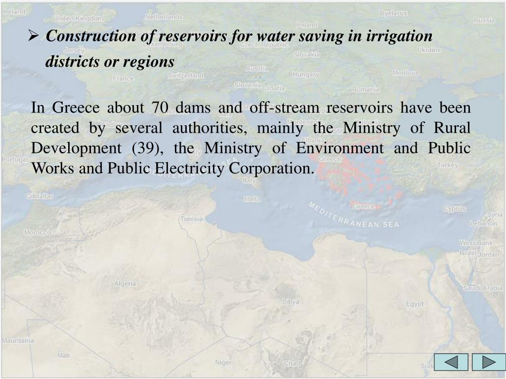 Construction of reservoirs for water saving in irrigation districts or regions