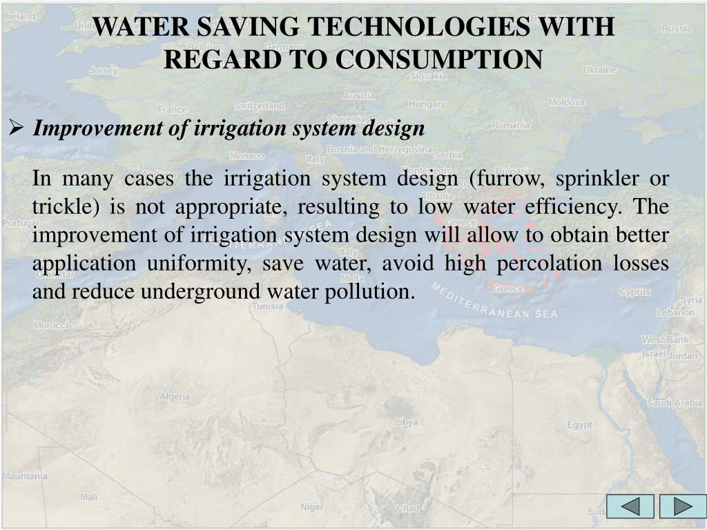 WATER SAVING TECHNOLOGIES WITH REGARD TO CONSUMPTION