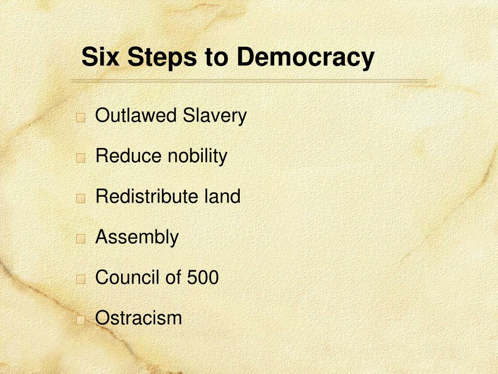 Six Steps to Democracy