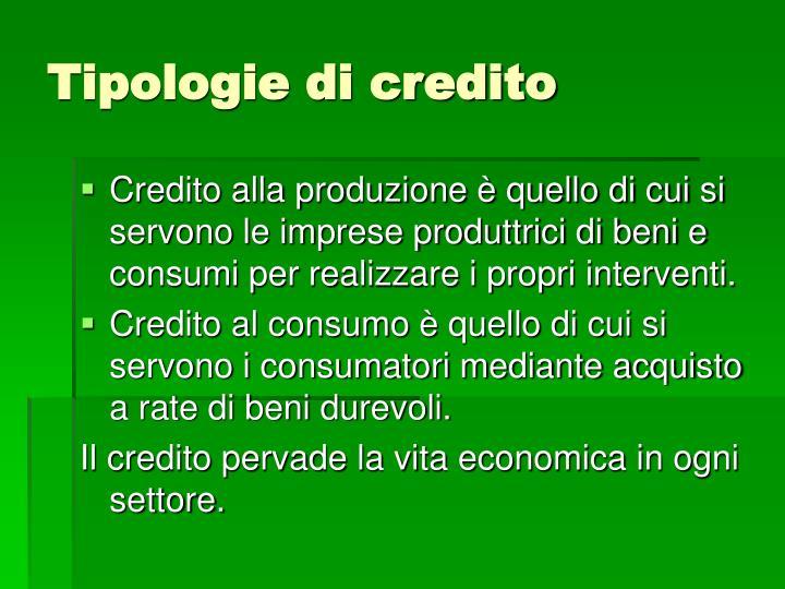 Tipologie di credito