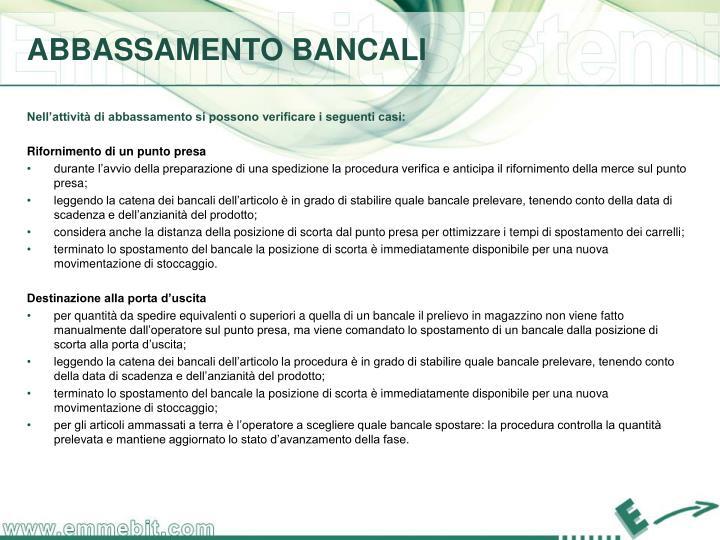 ABBASSAMENTO BANCALI