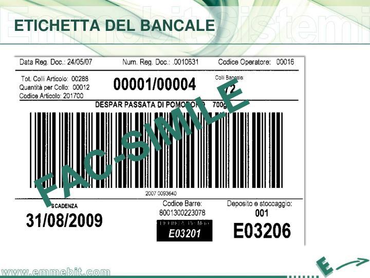 ETICHETTA DEL BANCALE