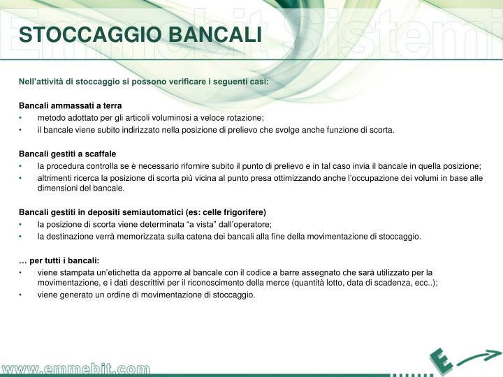 STOCCAGGIO BANCALI