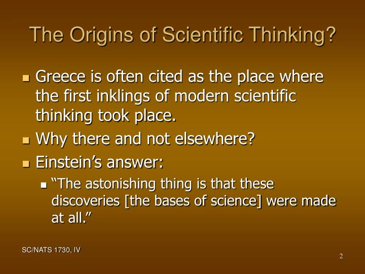 The origins of scientific thinking l.jpg