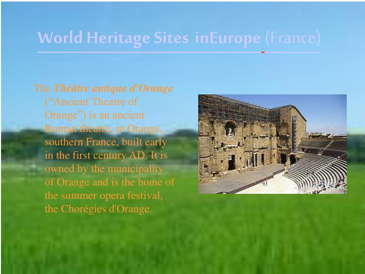 World heritage sites in europe france