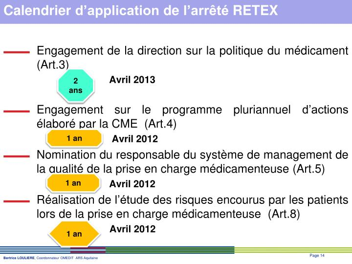 Calendrier d'application de l'arrêté RETEX