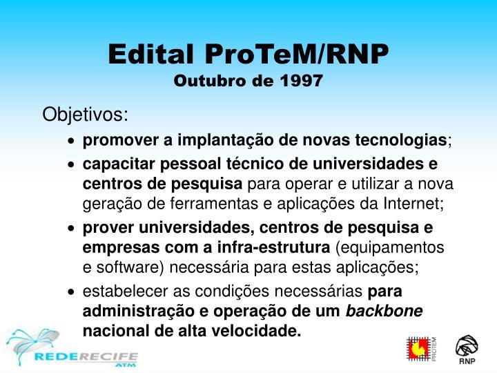 Edital ProTeM/RNP