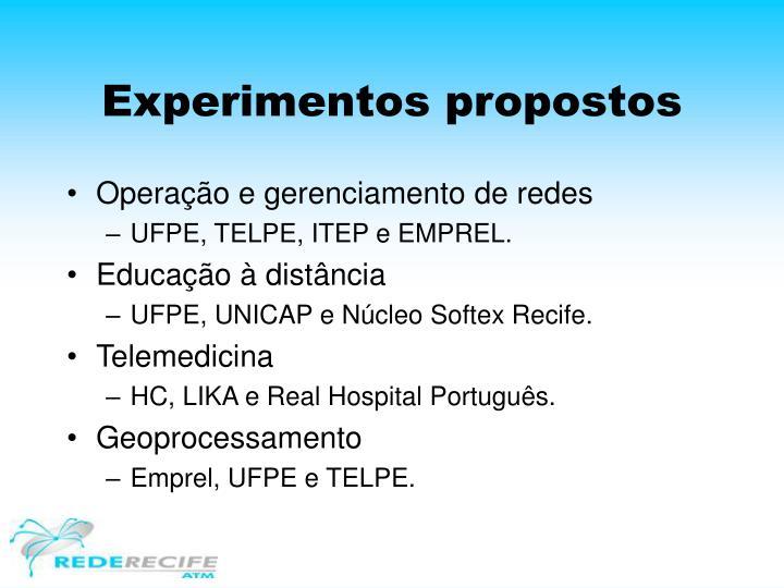 Experimentos propostos