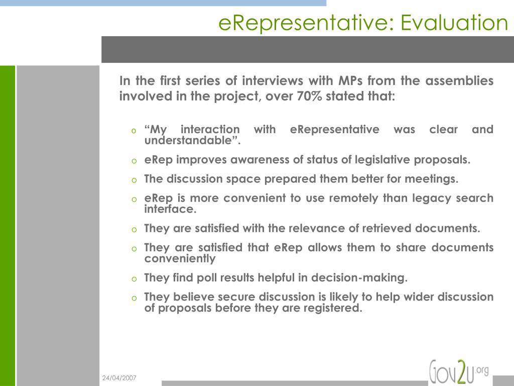 eRepresentative: Evaluation