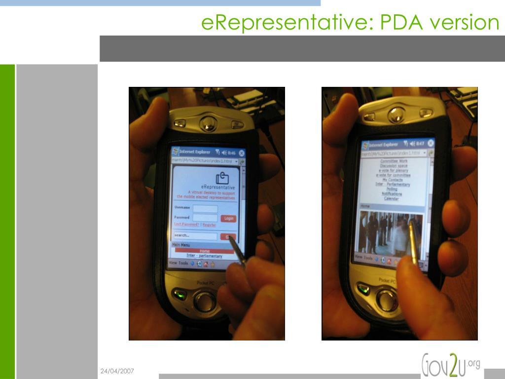 eRepresentative: PDA version