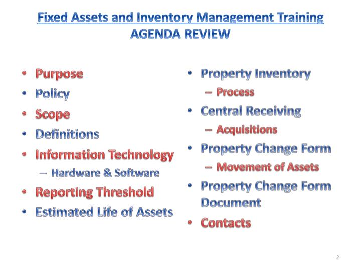 Fixed assets and inventory management training agenda review