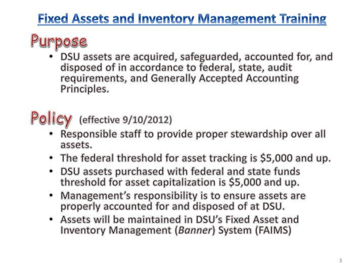 Fixed assets and inventory management training1