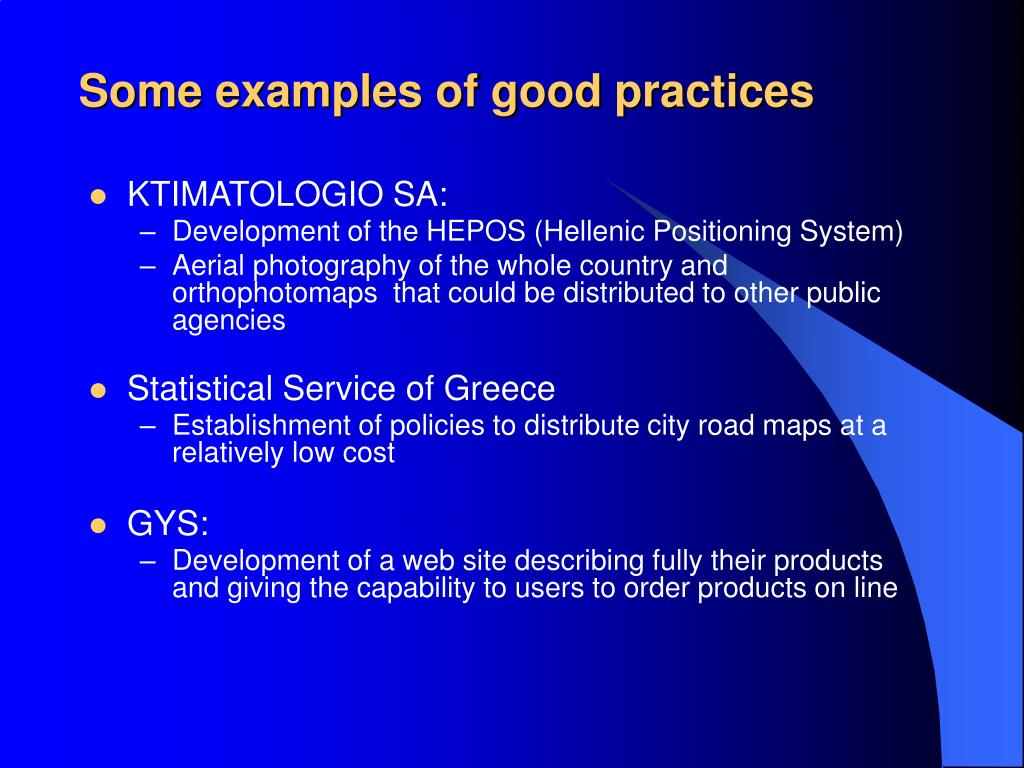 Some examples of good practices