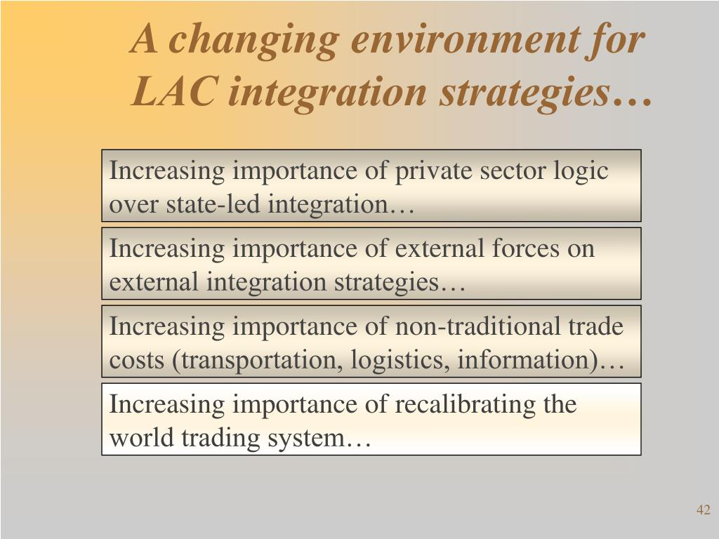 A changing environment for LAC integration strategies…