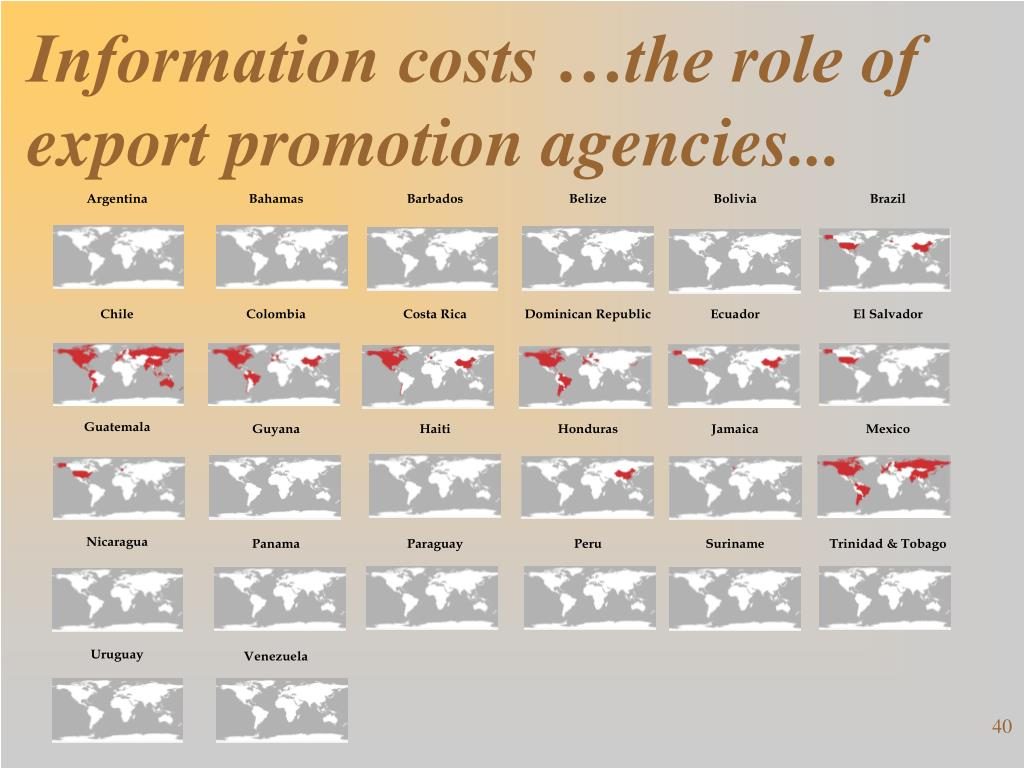 Information costs …the role of export promotion agencies...