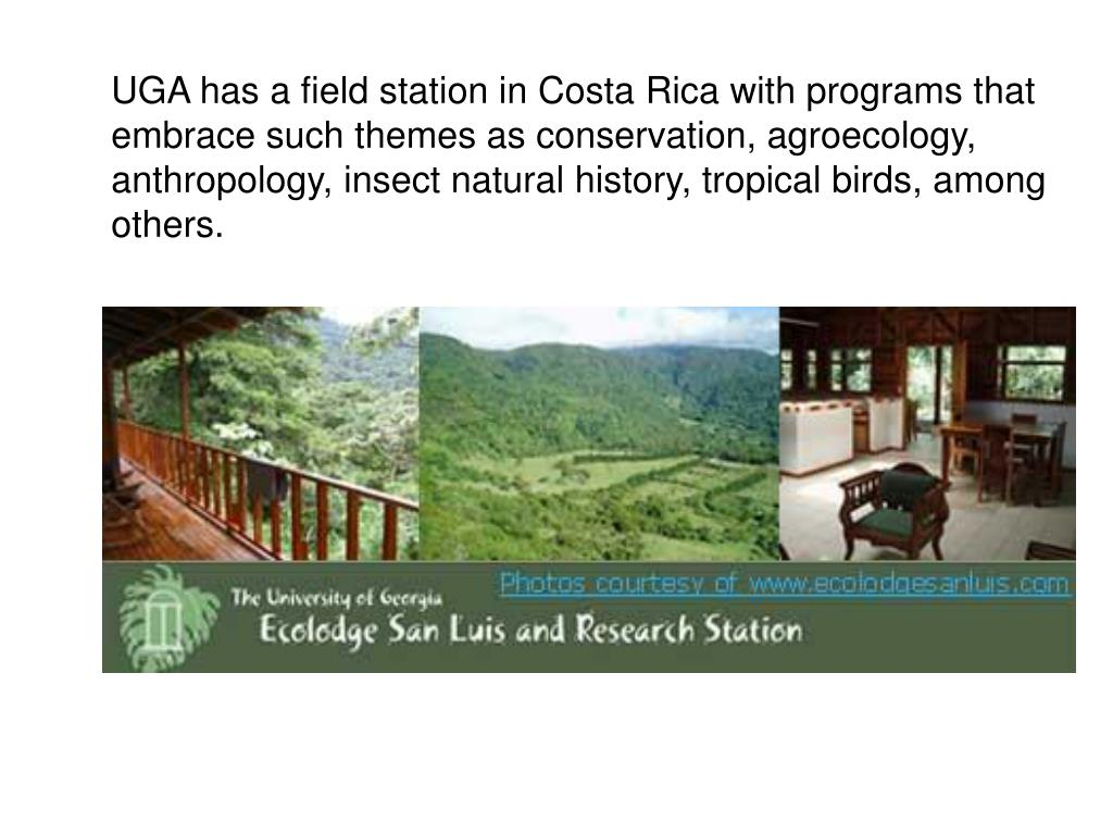 UGA has a field station in Costa Rica with programs that embrace such themes as conservation, agroecology, anthropology, insect natural history, tropical birds, among others.