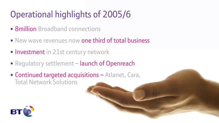Operational highlights of 2005/6