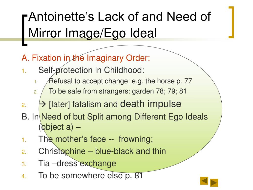 Antoinette's Lack of and Need of Mirror Image/Ego Ideal
