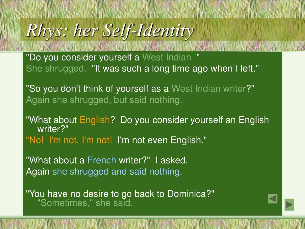 Rhys: her Self-Identity